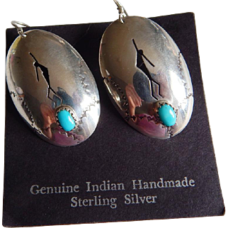 Nice STERLING SILVER Native American LARGE cut out dancer Turquoise drop earrings