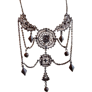 Incredible FILIGREE Chandelier Dangling Antique Middle Eastern Victorian Hearts bib drop necklace