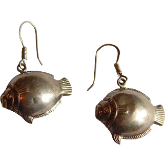 Adorable STERLING SILVER Puffer blow puffy fish earrings