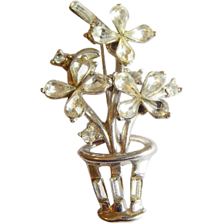 Cute Crystal Rhinestone Flower Bouquet rhinestone Sparkling brooch pin
