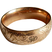 Wide Scrolling GOLD FILLED Floral Monogrammed thick Antique Bangle bracelet Providence Stock Company