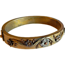 This item is RESERVED   Beautiful GOLD FILLED Floral Sterling Silver ART NOUVEAU Antique Victorian bangle bracelet