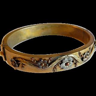 Beautiful GOLD FILLED Floral Sterling Silver ART NOUVEAU Antique Victorian bangle bracelet