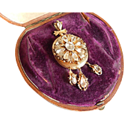 LARGE Victorian GOLD FILLED Crystal Rhinestone Drop Hair photo Dangling Locket From Ireland in box