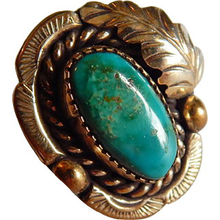 Gold over Sterling silver NATIVE AMERICAN  TURQUOISE Gold vermeil pretty Pinky ring size 4.5