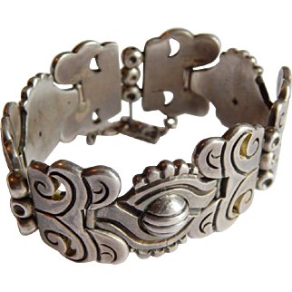 Phenomenal HECTOR AGUILAR  Sterling 940 SILVER Pre-Columbian Early HA mark Taxco Mexico bracelet