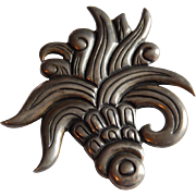 Large HECTOR AGUILAR Taxco Mexico Sterling 940 SILVER Old mark HA Agave brooch pin
