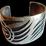 Wide HOPI signed STERLING Silver Marcus Coochwikvia Badger Bear claw Hopi Craftsman Heavy cuff bracelet