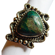 Neat MEXICAN Silver Signed TURQUOISE Hopi tribe Eagle 65 Scrolling Sterling Silver ring size 7