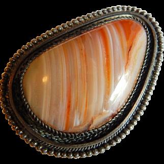 Unusual ISRAEL Sterling SILVER striped Agate stone large brooch