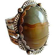 Unusual Picturesque JASPER stone Signed STERLING SILVER Native American Arrow Sun ring
