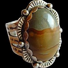 Unusual Picturesque JASPER stone Signed STERLING SILVER Native American Arrow Sun ring