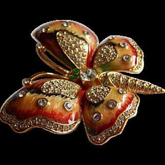 Sparkling KJL signed Kenneth Lane Enameled crystal rhinestone butterfly pin brooch