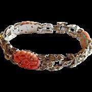 Elegant KTF TRIFARI Pave rhinestone Coral molded glass signed 1935 Trifari, Krussman & Fishel bracelet