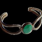 Pretty TAXCO MEXICO Sterling Silver MALACHITE stone cuff Mexican bracelet
