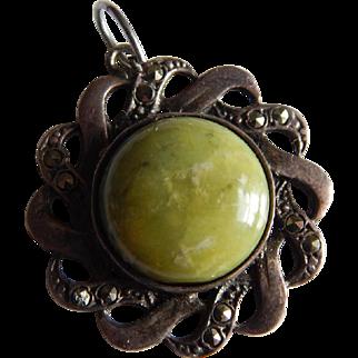 British STERLING MARCASITE Green Jasper turquoise stone Sterling silver Art Deco European mark pendant