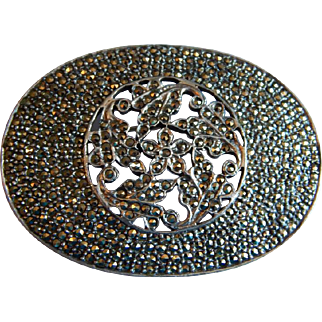Large MARCASITE Floral Deco STERLING SILVER open work Signed brooch pin