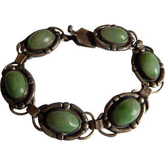 Nice MEXICAN SILVER Green onyx Mexican jade Pre-eagle Sterling silver stone bracelet