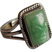 Great MEXICAN Sterling Silver Jade Green Onyx Carved Mask face ring