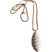 Retro Long MONET white Lucite gold tone necklace pendant