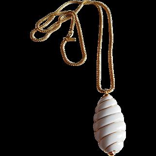 Retro Long MONET white Lucite gold tone necklace pendant