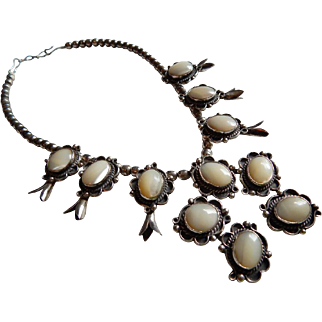 Gorgeous STERLING Squash Blossom Mother of Pearl Large Native American necklace