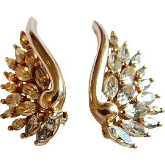 Sparkling clear PANETTA signed marquise rhinestone  climber earrings