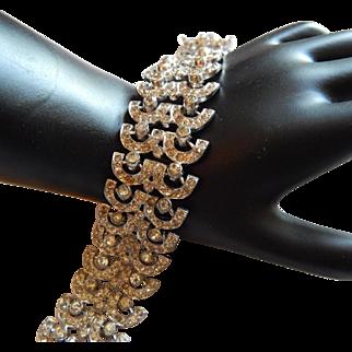 Sparkling Wide PAVE Lacy Paste crystal rhinestone Art Deco bracelet