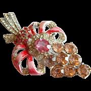 Pretty in PINK Enameled Pave rhinestone Pot metal LARGE Art DECO Sparkling rhinestone brooch