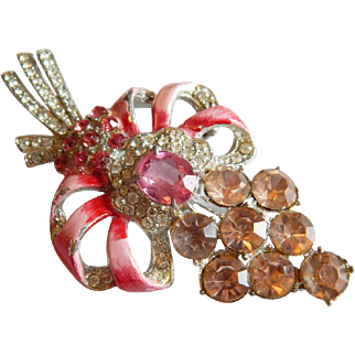 Pretty in PINK Enameled Pave rhinestone Pot metal LARGE Art DECO Sparkling rhinestone brooch