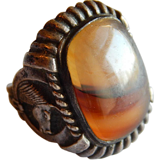 Scenic AGATE Western Horse STERLING SILVER Equestrian South West large ring