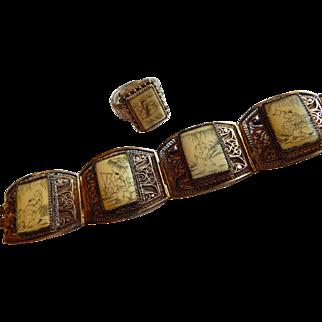Chinese SILVER Scrimshaw picture bone Filigree Sterling silver Story Bracelet ring set