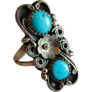 Scrolling Floral TURQUOISE Native AMerican STERLING SILVER feminine tall ring size 6