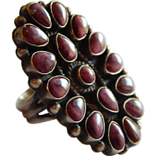 Large Navajo STERLING Silver Spiny Oyster Stone Petti Point Cabochon Signed Native American ring