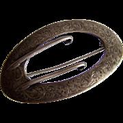 Huge Scrolling STERLING Silver Victorian Antique British European buckle pin brooch