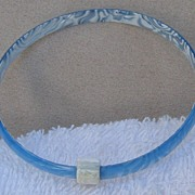 Baby Blue & White Slim Bangle Bracelet, by Lea Stein, Paris