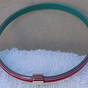 Red, Teal & White, Striped Slim Bangle Bracelet, by Lea Stein, Paris