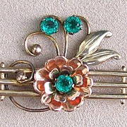 Yellow and Rose Gold Filled Floral Brooch by Harry Iskin, c. 1940