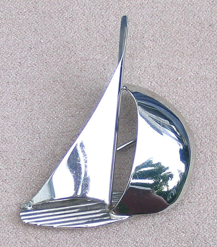 Sterling Sailboat Pin by Beau, c. 1960