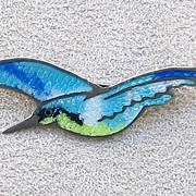 Vintage Sterling and Enamel Seagull Pin, Mexico