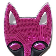 Magenta Fox Head pin by Lea Stein, Paris