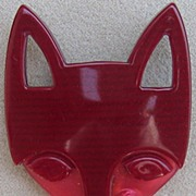 Cranberry & Raspberry Fox head pin by Lea Stein, Paris