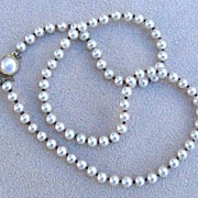 Hand-knotted, Faux Pearl Necklace, c. 1950