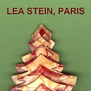 Orange and Peach Christmas Tree Pin, by Lea Stein, Paris