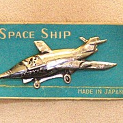 Tin Space Ship Pin, Made in Japan, c. 1930