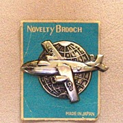 Tin Airplane Novelty Brooch, Made in Japan, c. 1930