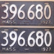 Pair of 1927 Massachusetts Automobile License Plates