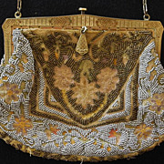 Art Deco French Micro Beaded and Embroidered Handbag Purse