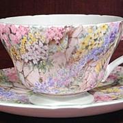 Shelley Rock Garden Chintz Bone China Teacup and Saucer