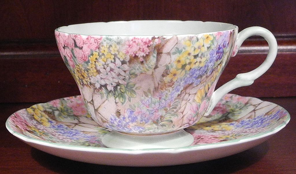 Shelley Rock Garden Chintz Bone China Teacup and Saucer